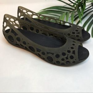 CROCS Adrima Circle Cut Out Jelly Wedge Flats